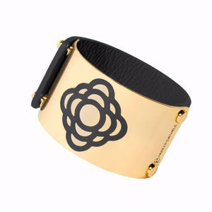 Jewelry - GOLD PLATED LEATHER❤ FLOWER CUFF (Black)